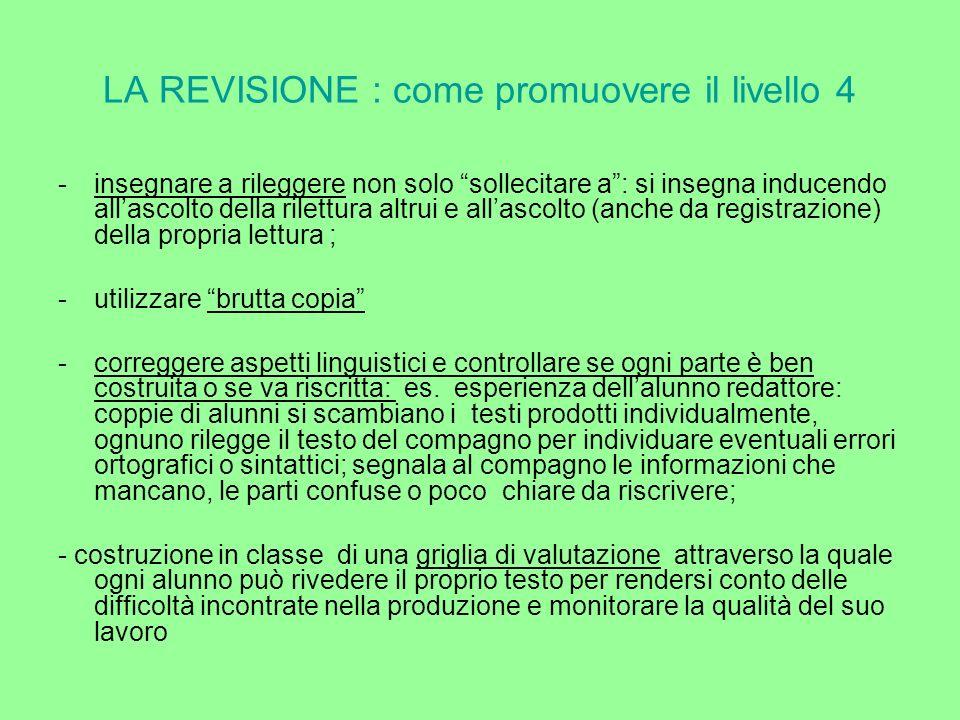 LA REVISIONE : come promuovere il livello 4 -insegnare a rileggere non solo sollecitare a: si insegna inducendo allascolto della rilettura altrui e al