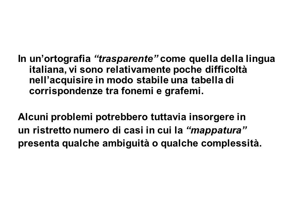 In unortografia trasparente come quella della lingua italiana, vi sono relativamente poche difficoltà nellacquisire in modo stabile una tabella di cor