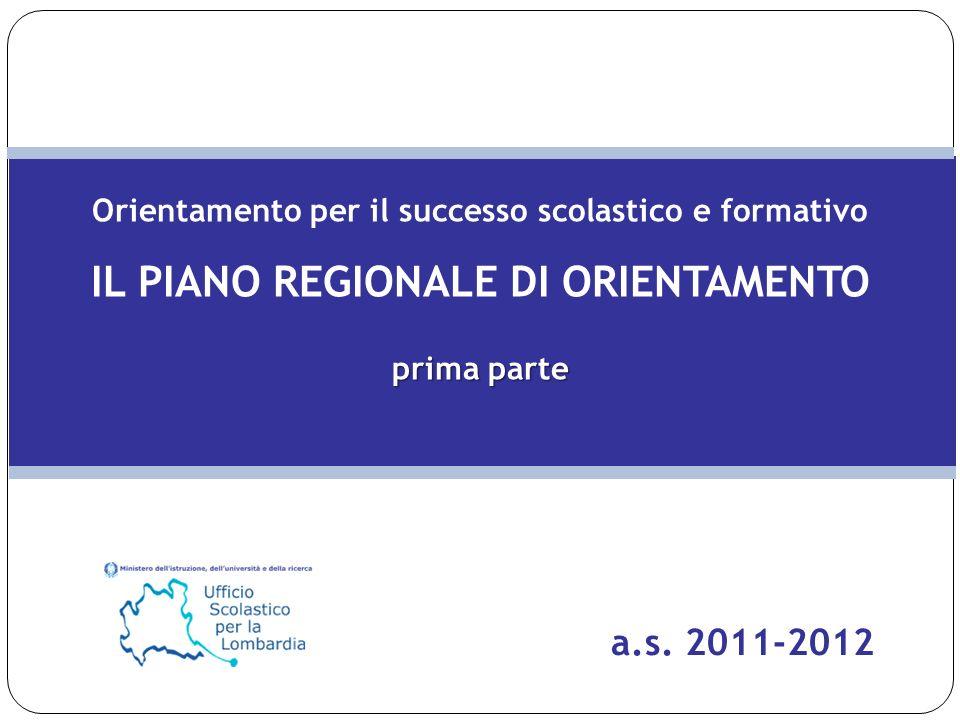Orientamento per il successo scolastico e formativo IL PIANO REGIONALE DI ORIENTAMENTO prima parte a.s. 2011-2012