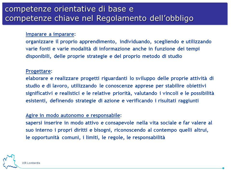 USR Lombardia 16 Imparare a imparare: organizzare il proprio apprendimento, individuando, scegliendo e utilizzando varie fonti e varie modalità di inf