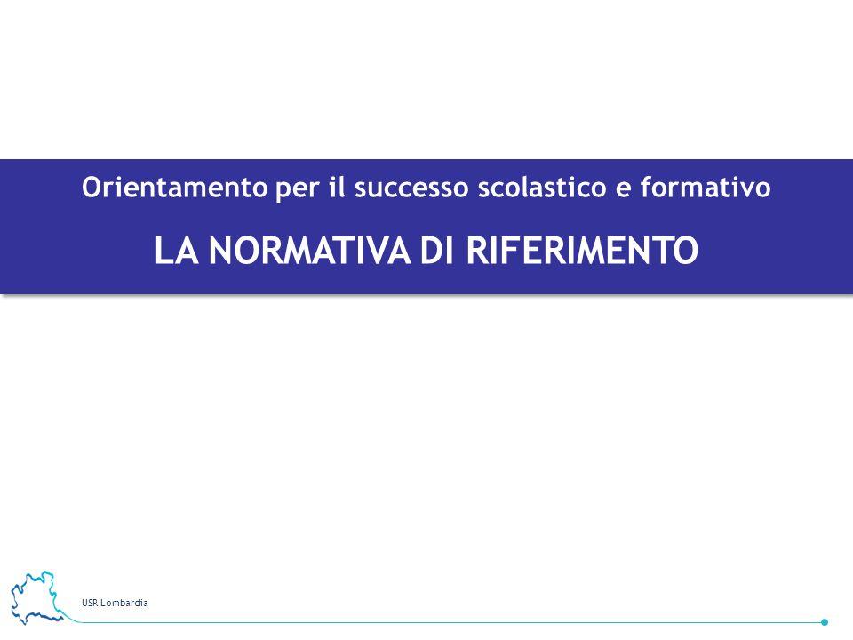 USR Lombardia 19 Orientamento per il successo scolastico e formativo LA NORMATIVA DI RIFERIMENTO Orientamento per il successo scolastico e formativo L
