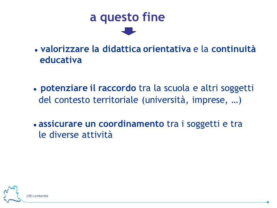 USR Lombardia 22 potenziare il raccordo tra la scuola e altri soggetti del contesto territoriale (università, imprese, …) assicurare un coordinamento