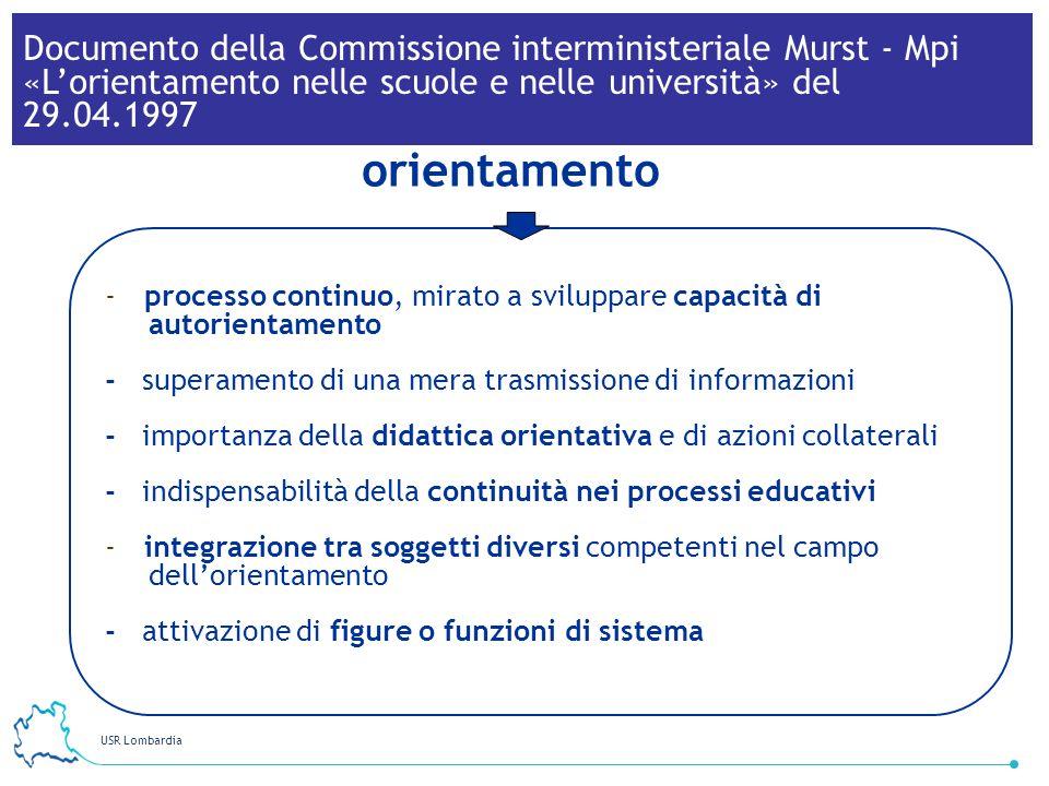 USR Lombardia 24 -processo continuo, mirato a sviluppare capacità di autorientamento - superamento di una mera trasmissione di informazioni - importan