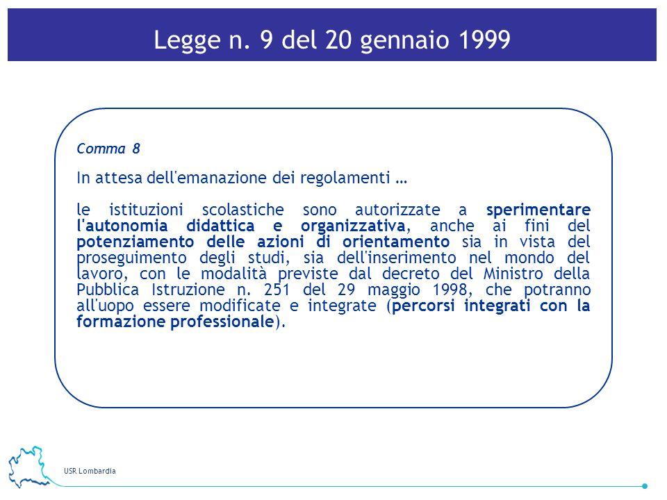 USR Lombardia 26 Comma 8 In attesa dell'emanazione dei regolamenti … le istituzioni scolastiche sono autorizzate a sperimentare l'autonomia didattica