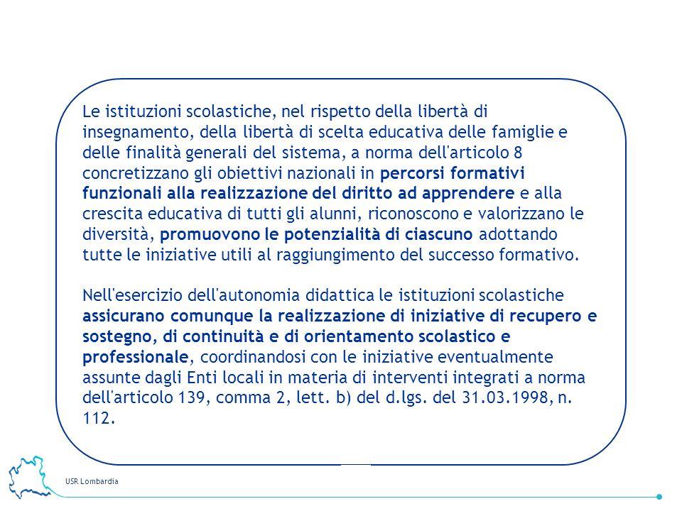 USR Lombardia 28 Le istituzioni scolastiche, nel rispetto della libertà di insegnamento, della libertà di scelta educativa delle famiglie e delle fina