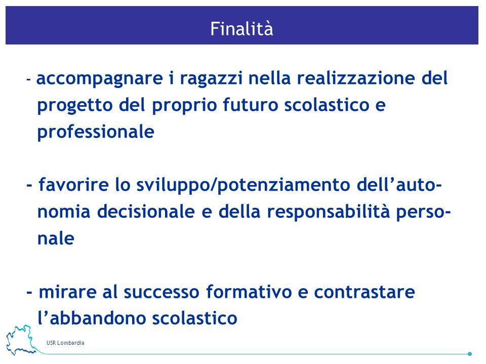 USR Lombardia 3 Finalità - accompagnare i ragazzi nella realizzazione del progetto del proprio futuro scolastico e professionale - favorire lo svilupp