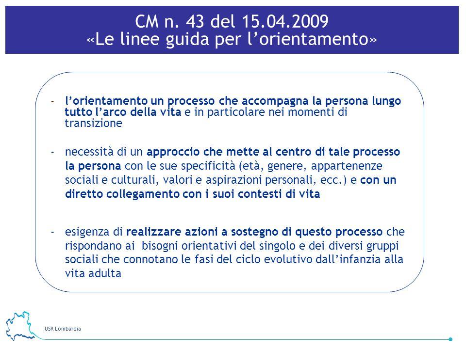 USR Lombardia 31 -lorientamento un processo che accompagna la persona lungo tutto larco della vita e in particolare nei momenti di transizione -necess