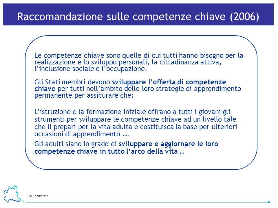 USR Lombardia 37 Le competenze chiave sono quelle di cui tutti hanno bisogno per la realizzazione e lo sviluppo personali, la cittadinanza attiva, lin