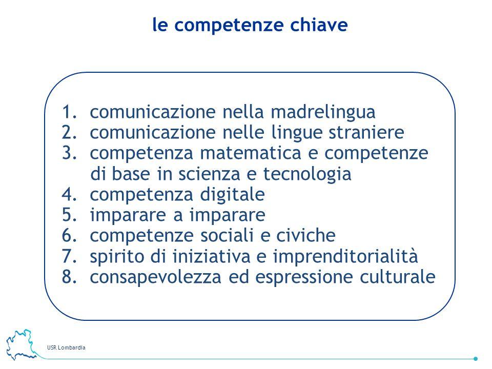 USR Lombardia 38 1. comunicazione nella madrelingua 2. comunicazione nelle lingue straniere 3. competenza matematica e competenze di base in scienza e
