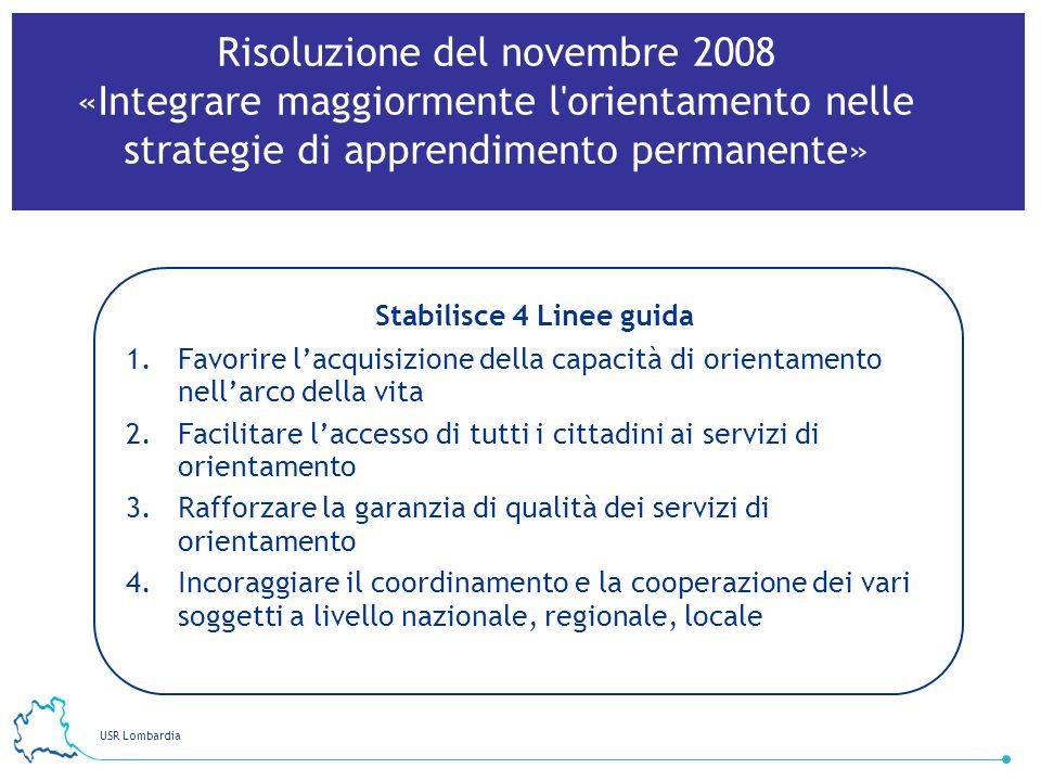 USR Lombardia 41 Stabilisce 4 Linee guida 1.Favorire lacquisizione della capacità di orientamento nellarco della vita 2.Facilitare laccesso di tutti i