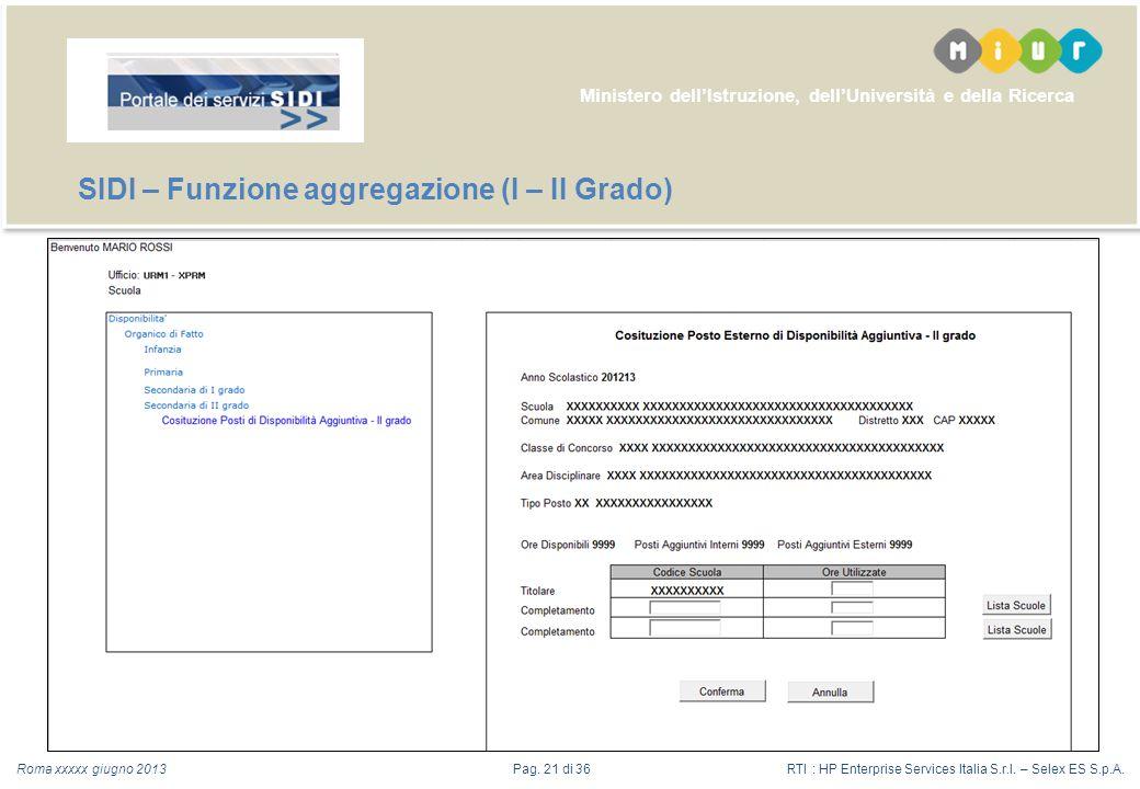 Ministero dellIstruzione, dellUniversità e della Ricerca Roma xxxxx giugno 2013 SIDI – Funzione aggregazione (I – II Grado) RTI : HP Enterprise Services Italia S.r.l.
