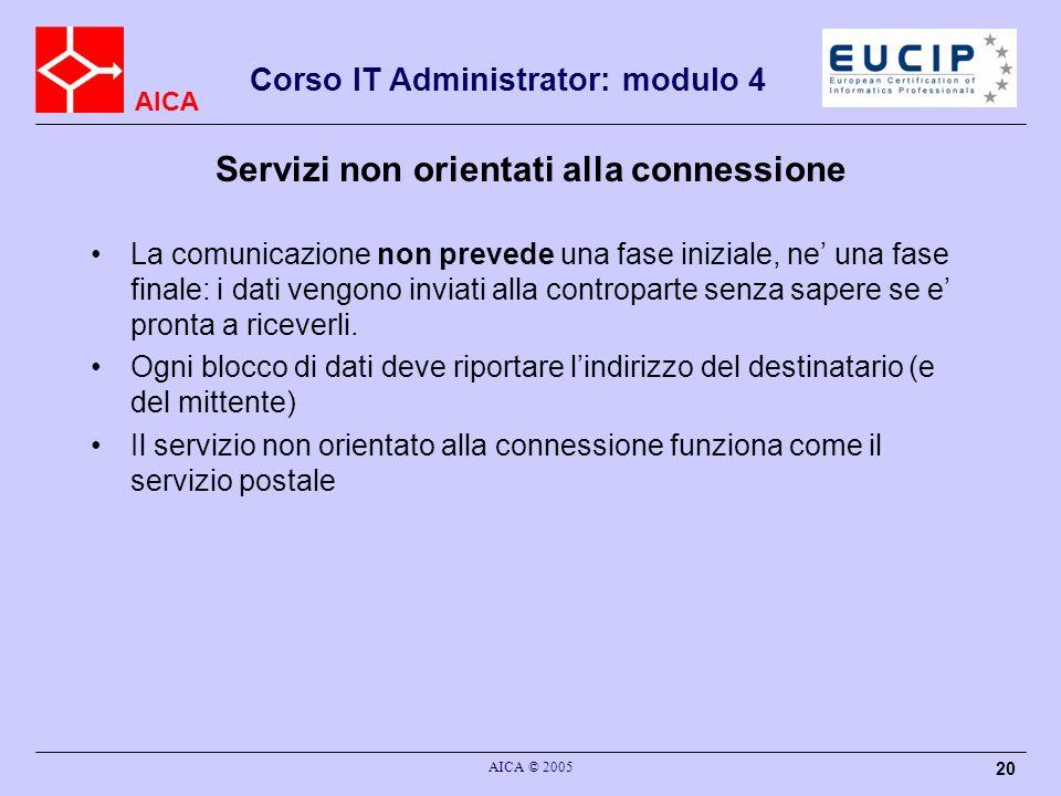AICA Corso IT Administrator: modulo 4 AICA © 2005 20 Servizi non orientati alla connessione La comunicazione non prevede una fase iniziale, ne una fas