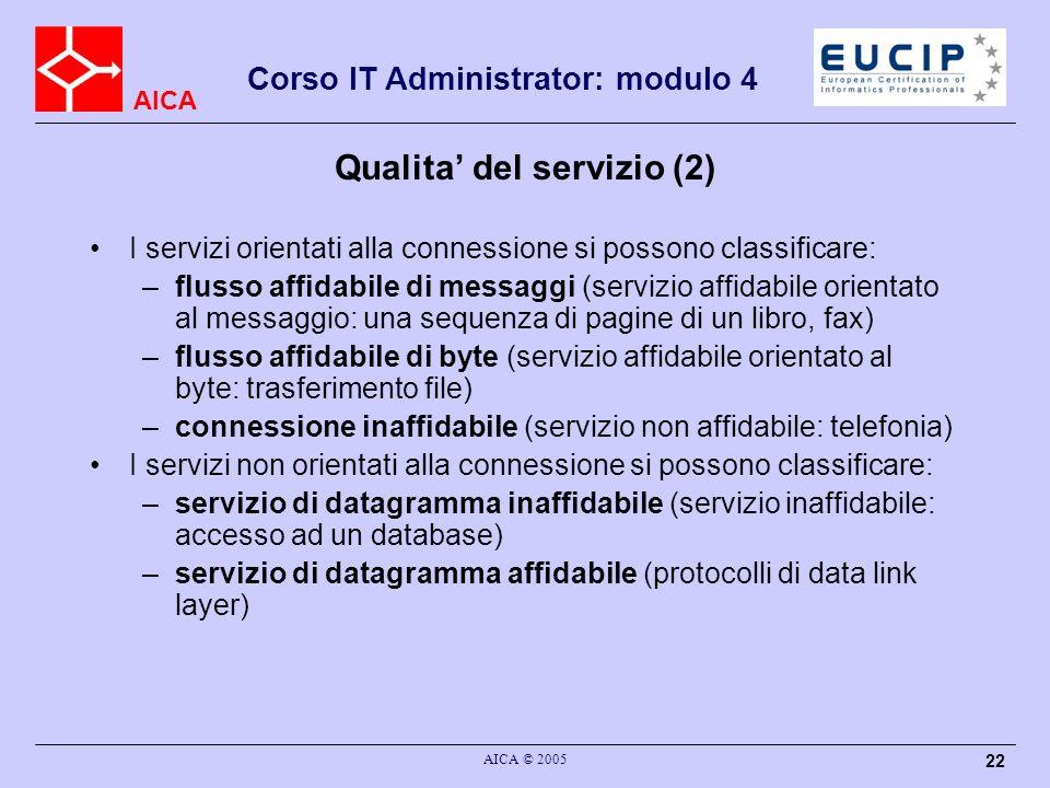 AICA Corso IT Administrator: modulo 4 AICA © 2005 22 Qualita del servizio (2) I servizi orientati alla connessione si possono classificare: –flusso af