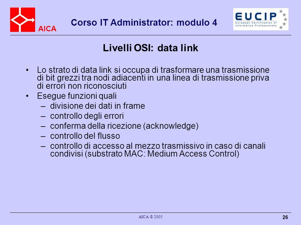 AICA Corso IT Administrator: modulo 4 AICA © 2005 26 Livelli OSI: data link Lo strato di data link si occupa di trasformare una trasmissione di bit gr