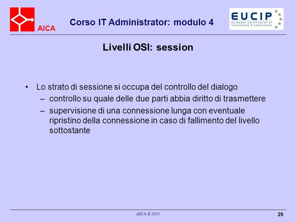 AICA Corso IT Administrator: modulo 4 AICA © 2005 29 Livelli OSI: session Lo strato di sessione si occupa del controllo del dialogo –controllo su qual