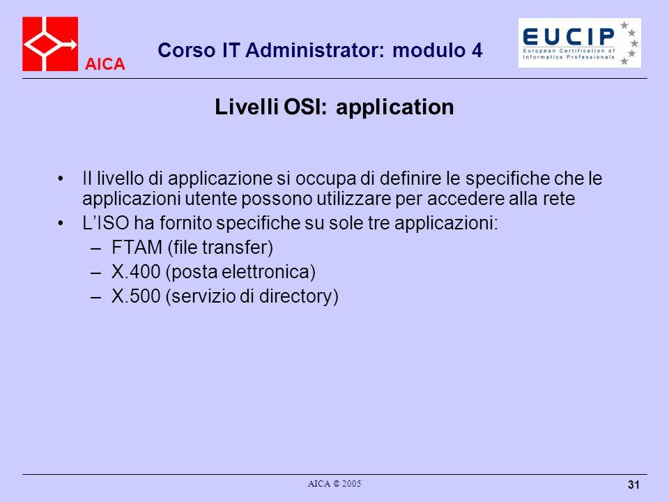 AICA Corso IT Administrator: modulo 4 AICA © 2005 31 Livelli OSI: application Il livello di applicazione si occupa di definire le specifiche che le ap