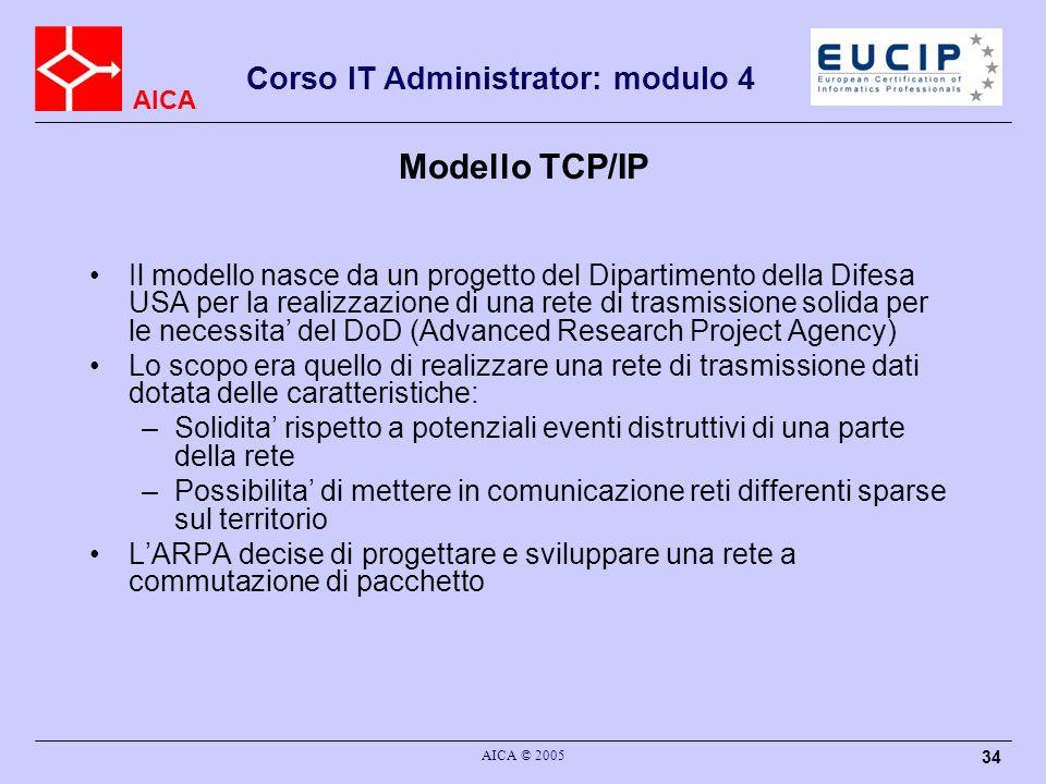 AICA Corso IT Administrator: modulo 4 AICA © 2005 34 Modello TCP/IP Il modello nasce da un progetto del Dipartimento della Difesa USA per la realizzaz
