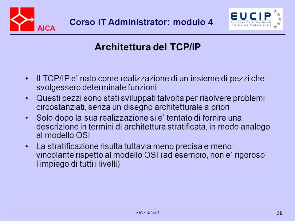 AICA Corso IT Administrator: modulo 4 AICA © 2005 35 Architettura del TCP/IP Il TCP/IP e nato come realizzazione di un insieme di pezzi che svolgesser