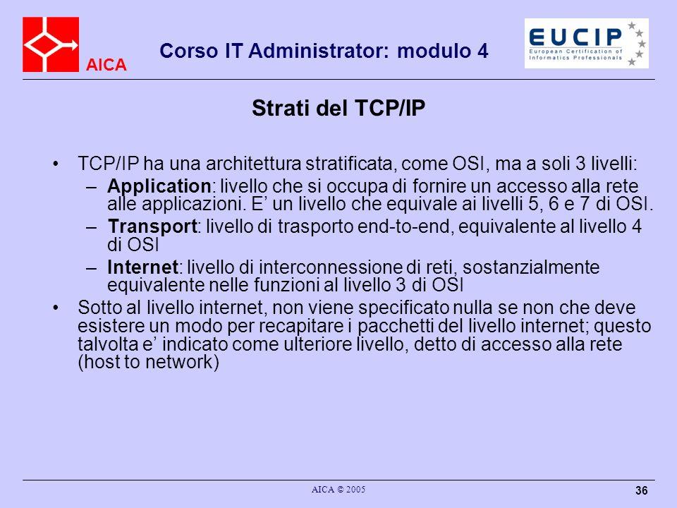 AICA Corso IT Administrator: modulo 4 AICA © 2005 36 Strati del TCP/IP TCP/IP ha una architettura stratificata, come OSI, ma a soli 3 livelli: –Applic