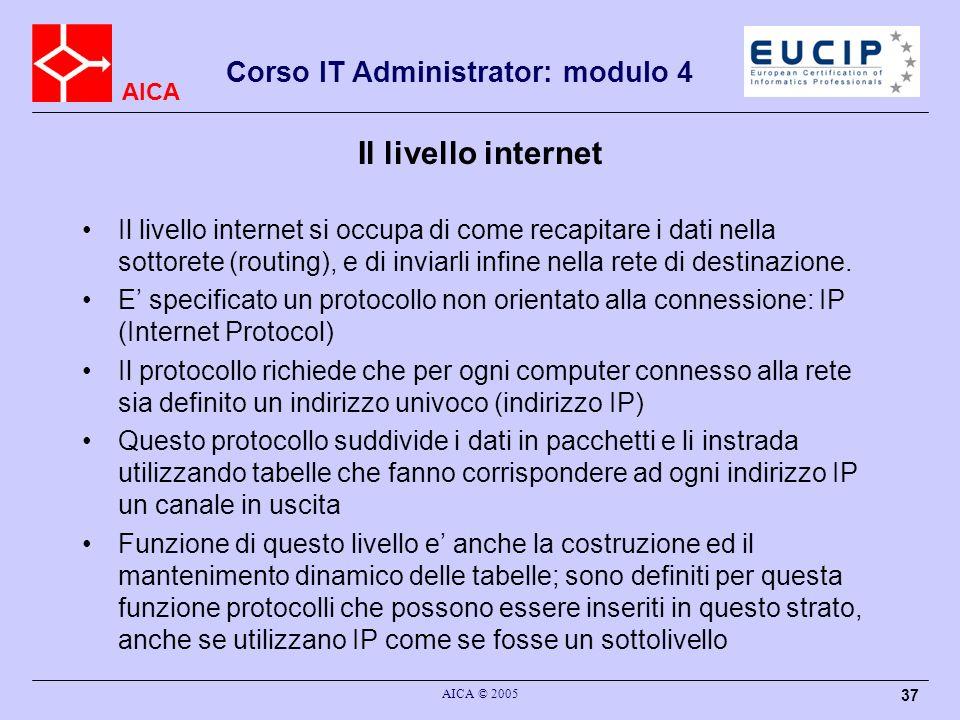 AICA Corso IT Administrator: modulo 4 AICA © 2005 37 Il livello internet Il livello internet si occupa di come recapitare i dati nella sottorete (rout
