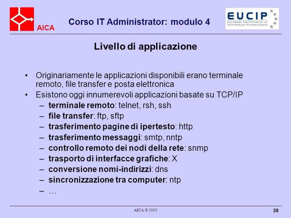 AICA Corso IT Administrator: modulo 4 AICA © 2005 39 Livello di applicazione Originariamente le applicazioni disponibili erano terminale remoto, file
