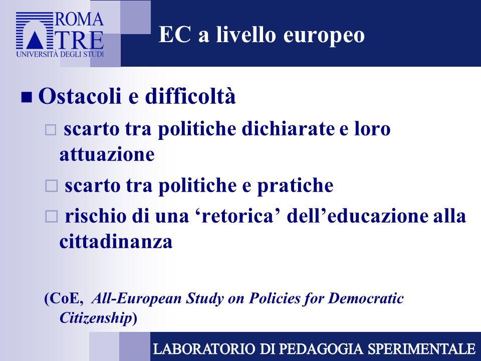 EC a livello europeo Ostacoli e difficoltà scarto tra politiche dichiarate e loro attuazione scarto tra politiche e pratiche rischio di una retorica d