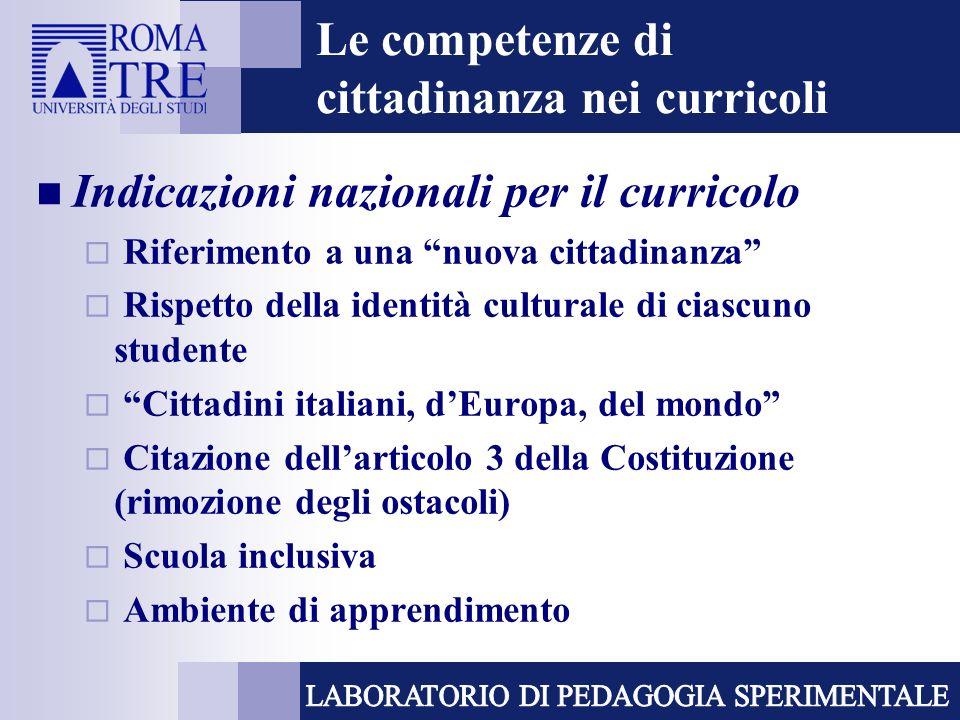 Le competenze di cittadinanza nei curricoli Indicazioni nazionali per il curricolo Riferimento a una nuova cittadinanza Rispetto della identità cultur