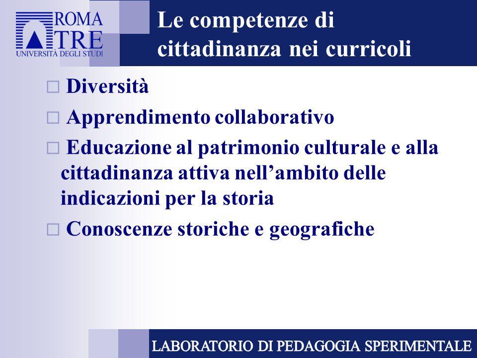 Le competenze di cittadinanza nei curricoli Diversità Apprendimento collaborativo Educazione al patrimonio culturale e alla cittadinanza attiva nellam