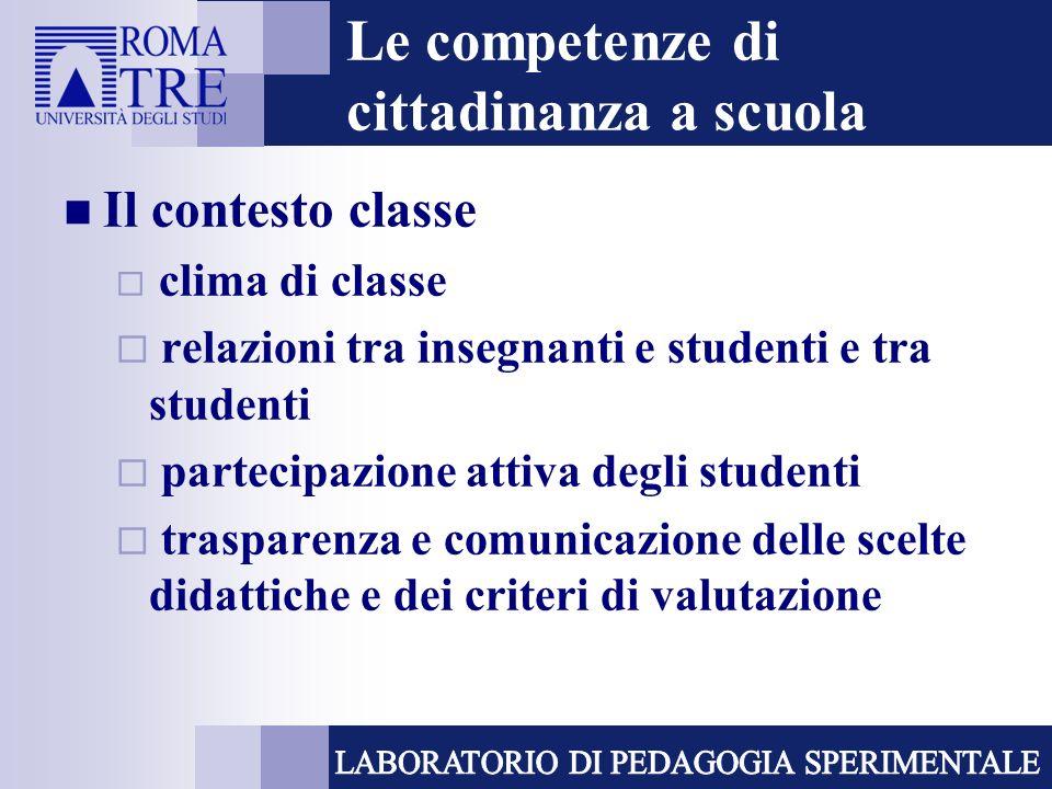 Le competenze di cittadinanza a scuola Il contesto classe clima di classe relazioni tra insegnanti e studenti e tra studenti partecipazione attiva deg