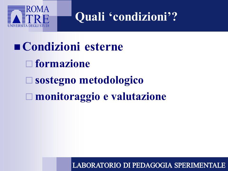 Quali condizioni? Condizioni esterne formazione sostegno metodologico monitoraggio e valutazione