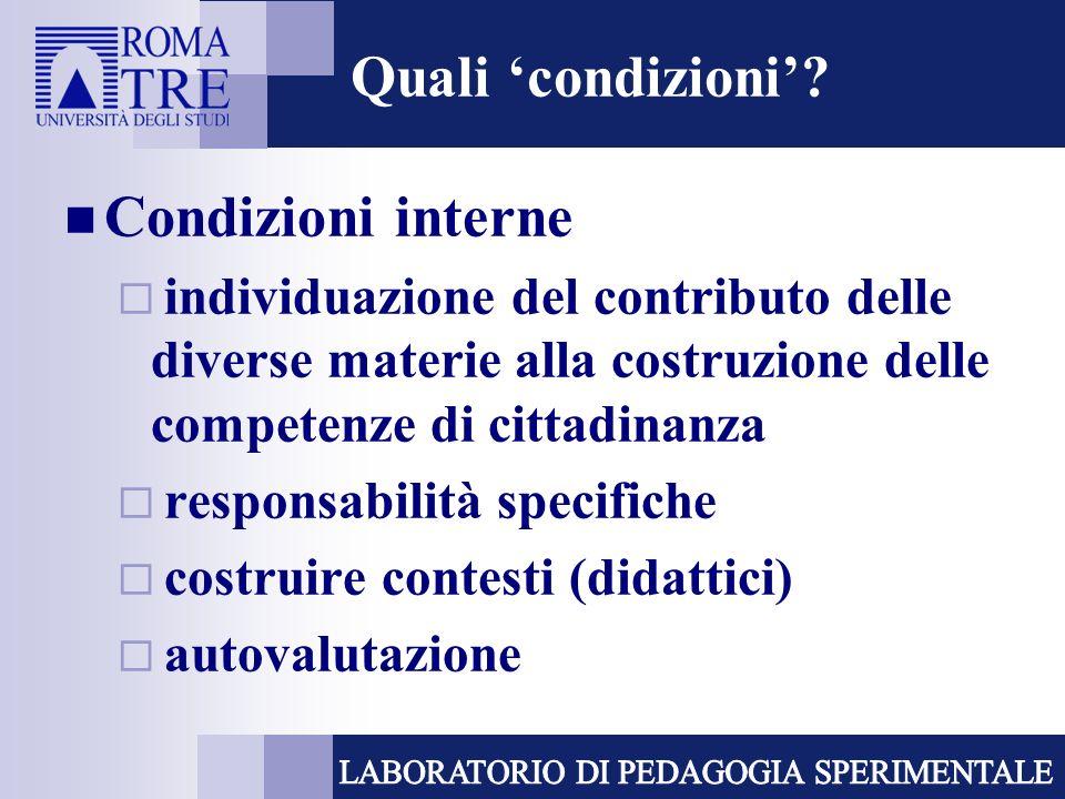Quali condizioni? Condizioni interne individuazione del contributo delle diverse materie alla costruzione delle competenze di cittadinanza responsabil