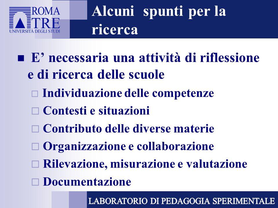 Alcuni spunti per la ricerca E necessaria una attività di riflessione e di ricerca delle scuole Individuazione delle competenze Contesti e situazioni