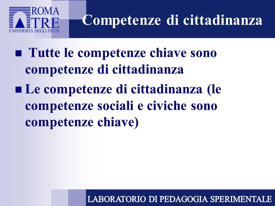 Competenze di cittadinanza Tutte le competenze chiave sono competenze di cittadinanza Le competenze di cittadinanza (le competenze sociali e civiche s