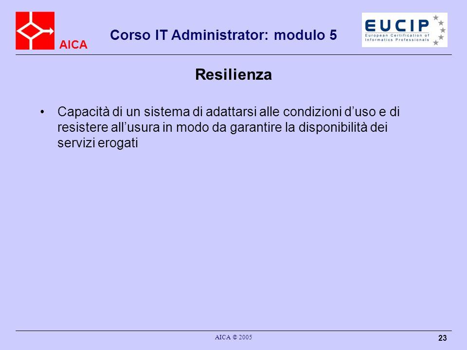 AICA Corso IT Administrator: modulo 5 AICA © 2005 23 Resilienza Capacità di un sistema di adattarsi alle condizioni duso e di resistere allusura in mo