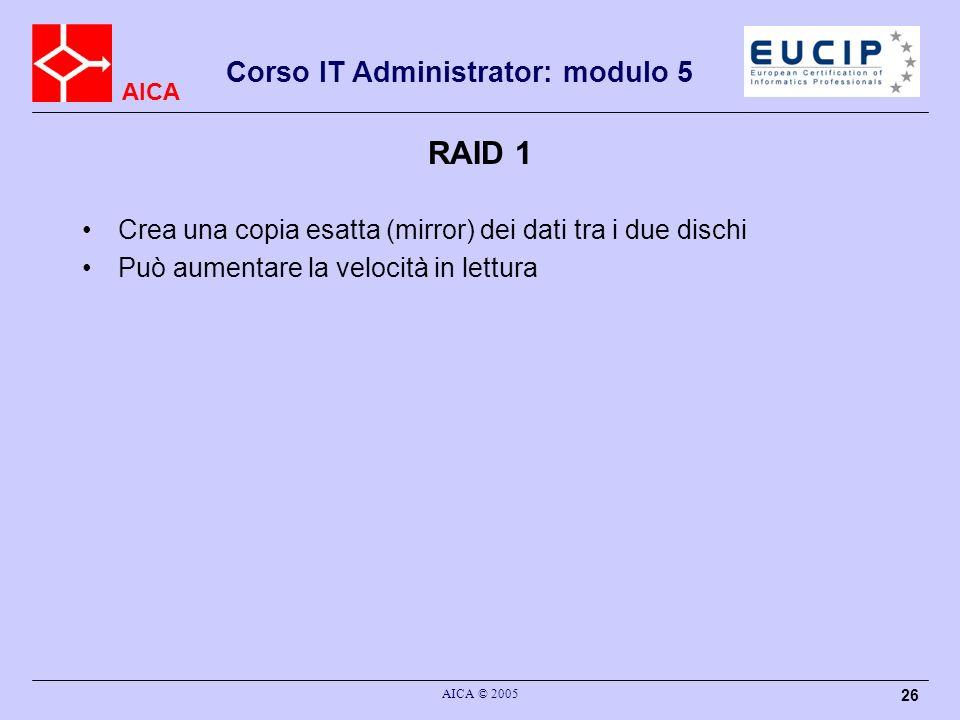 AICA Corso IT Administrator: modulo 5 AICA © 2005 26 RAID 1 Crea una copia esatta (mirror) dei dati tra i due dischi Può aumentare la velocità in lett