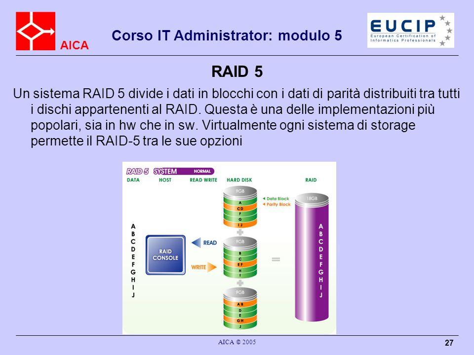 AICA Corso IT Administrator: modulo 5 AICA © 2005 27 RAID 5 Un sistema RAID 5 divide i dati in blocchi con i dati di parità distribuiti tra tutti i di