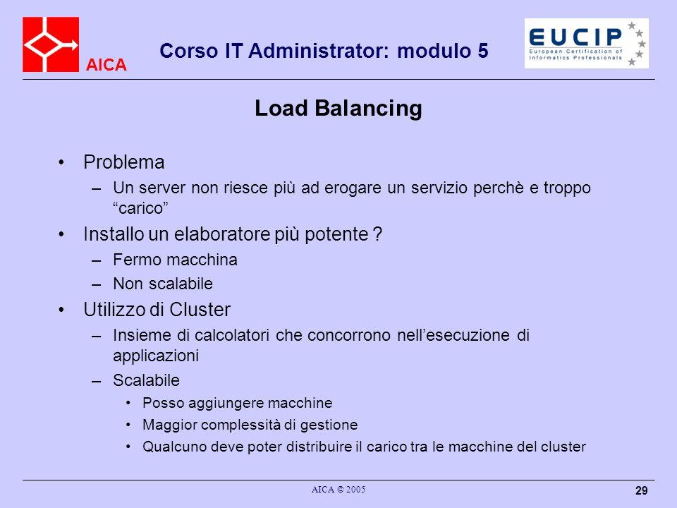 AICA Corso IT Administrator: modulo 5 AICA © 2005 29 Load Balancing Problema –Un server non riesce più ad erogare un servizio perchè e troppo carico I