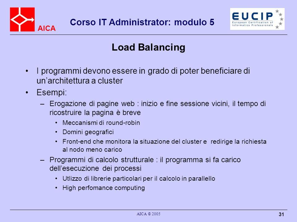 AICA Corso IT Administrator: modulo 5 AICA © 2005 31 Load Balancing I programmi devono essere in grado di poter beneficiare di unarchitettura a cluste