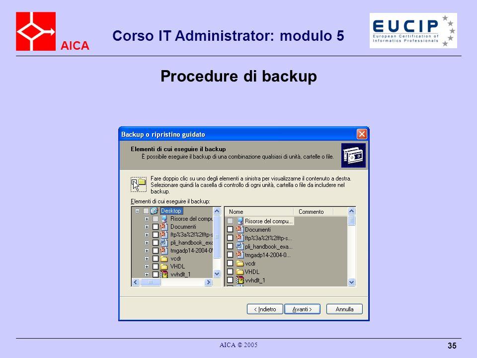 AICA Corso IT Administrator: modulo 5 AICA © 2005 35 Procedure di backup