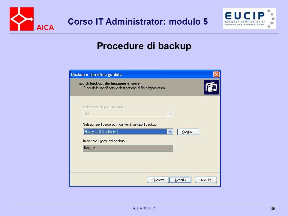 AICA Corso IT Administrator: modulo 5 AICA © 2005 36 Procedure di backup