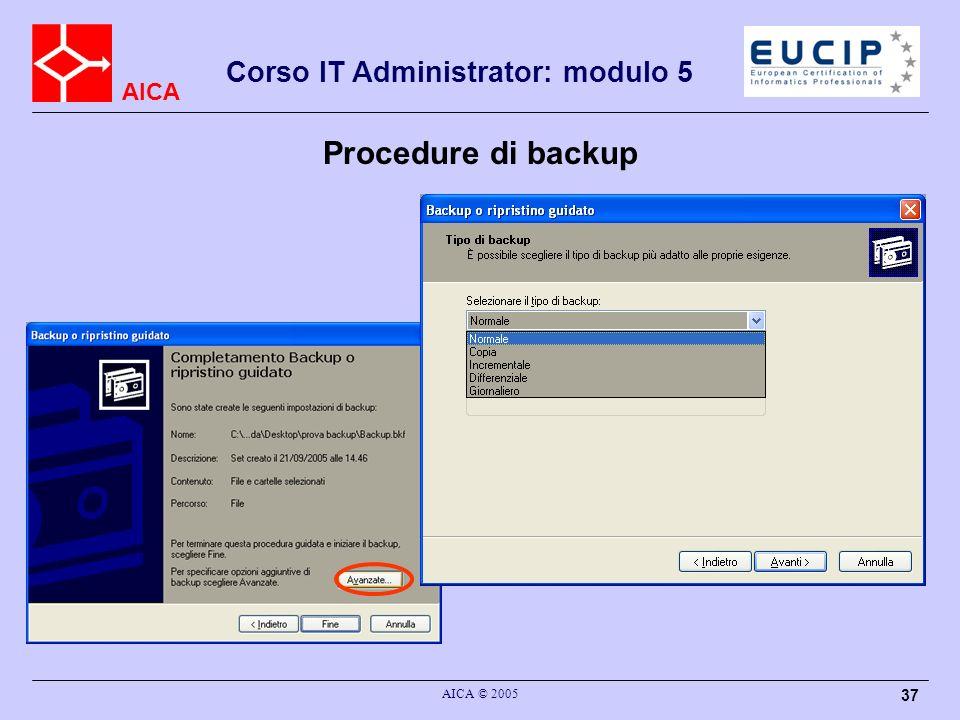 AICA Corso IT Administrator: modulo 5 AICA © 2005 37 Procedure di backup