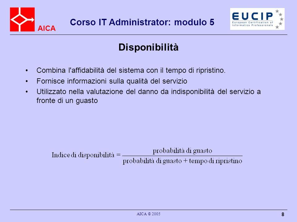 AICA Corso IT Administrator: modulo 5 AICA © 2005 8 Disponibilità Combina l'affidabilità del sistema con il tempo di ripristino. Fornisce informazioni