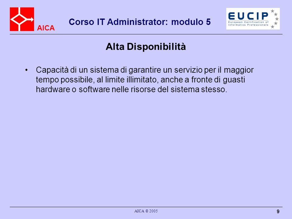 AICA Corso IT Administrator: modulo 5 AICA © 2005 9 Alta Disponibilità Capacità di un sistema di garantire un servizio per il maggior tempo possibile,