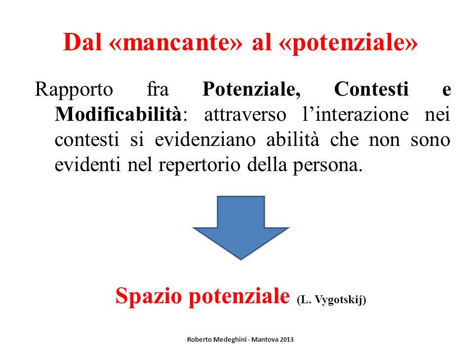 Dal «mancante» al «potenziale» Rapporto fra Potenziale, Contesti e Modificabilità: attraverso linterazione nei contesti si evidenziano abilità che non