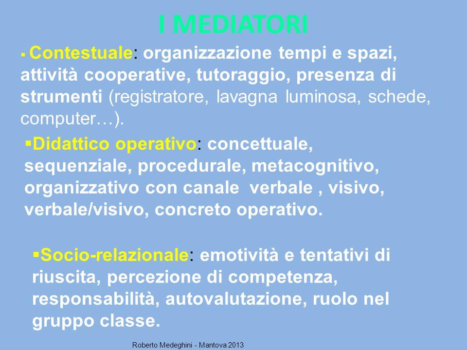 I MEDIATORI Socio-relazionale: emotività e tentativi di riuscita, percezione di competenza, responsabilità, autovalutazione, ruolo nel gruppo classe.