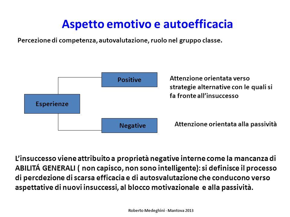 Aspetto emotivo e autoefficacia Percezione di competenza, autovalutazione, ruolo nel gruppo classe. Esperienze Negative Positive Attenzione orientata