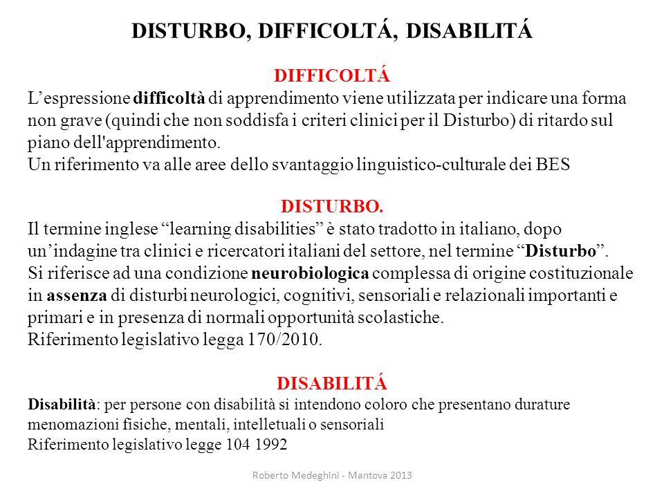 DISTURBO, DIFFICOLTÁ, DISABILITÁ DIFFICOLTÁ Lespressione difficoltà di apprendimento viene utilizzata per indicare una forma non grave (quindi che non
