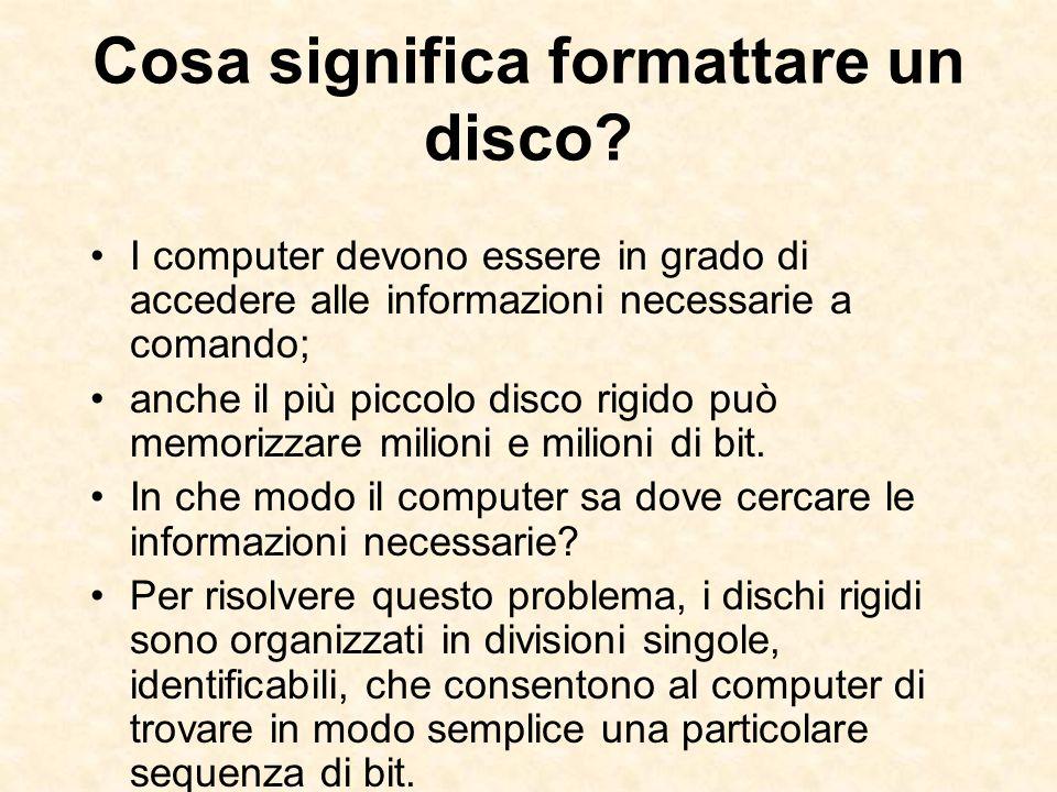 Cosa significa formattare un disco? I computer devono essere in grado di accedere alle informazioni necessarie a comando; anche il più piccolo disco r