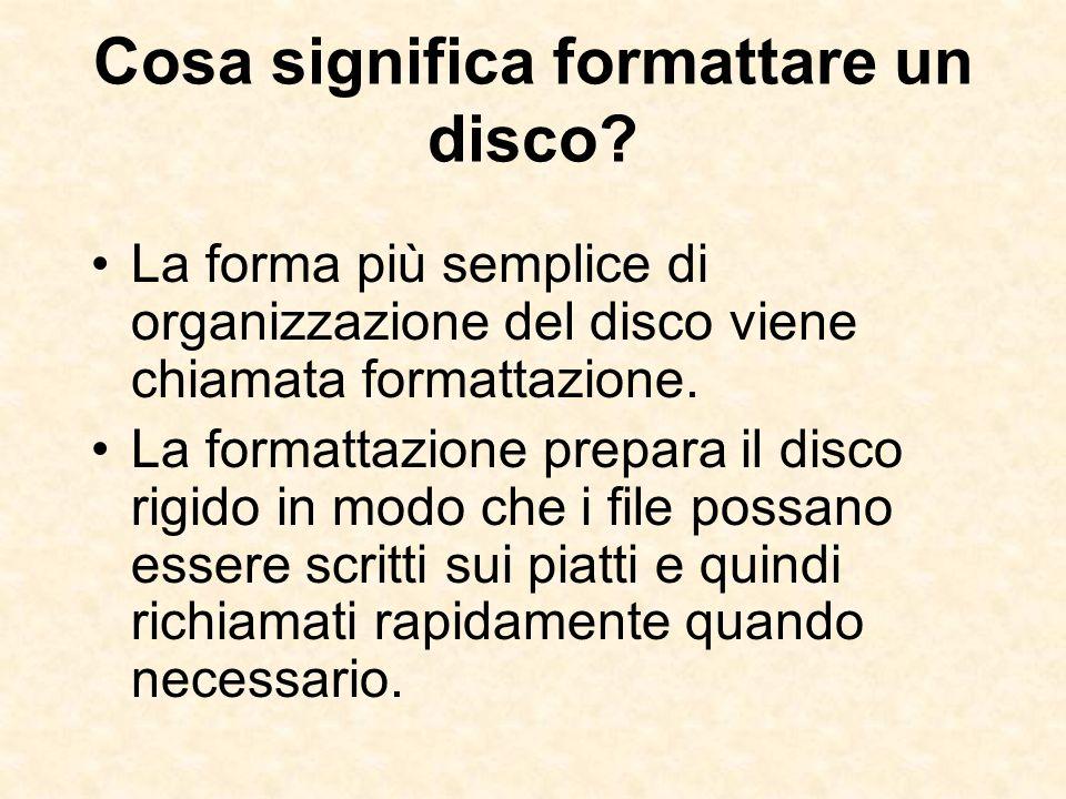 Cosa significa formattare un disco? La forma più semplice di organizzazione del disco viene chiamata formattazione. La formattazione prepara il disco