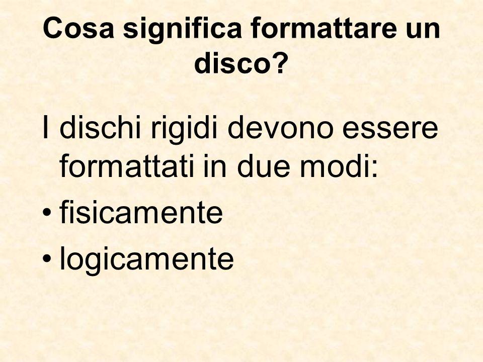Cosa significa formattare un disco? I dischi rigidi devono essere formattati in due modi: fisicamente logicamente